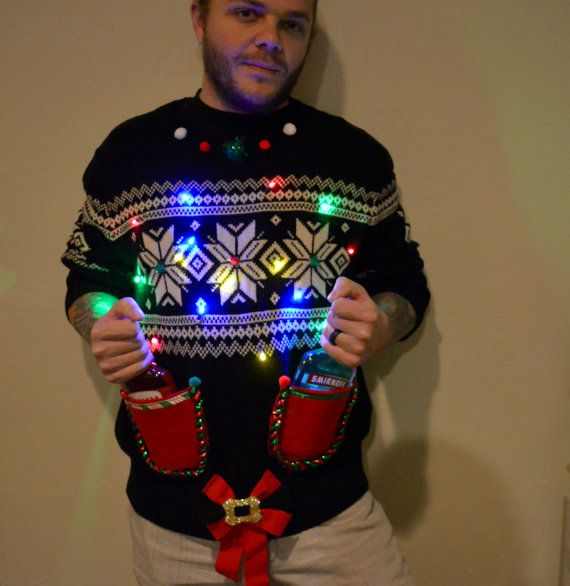 Light Up Liquor Holder Party Sweater Ugly Christmas Sweater