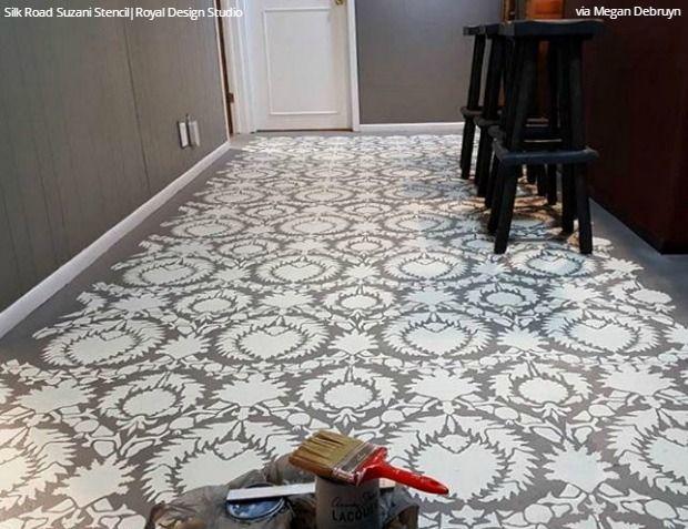 Easy Diy Fix Concrete Floor Stencils With Images Stenciled Floor Stencils Wall Floor Makeover