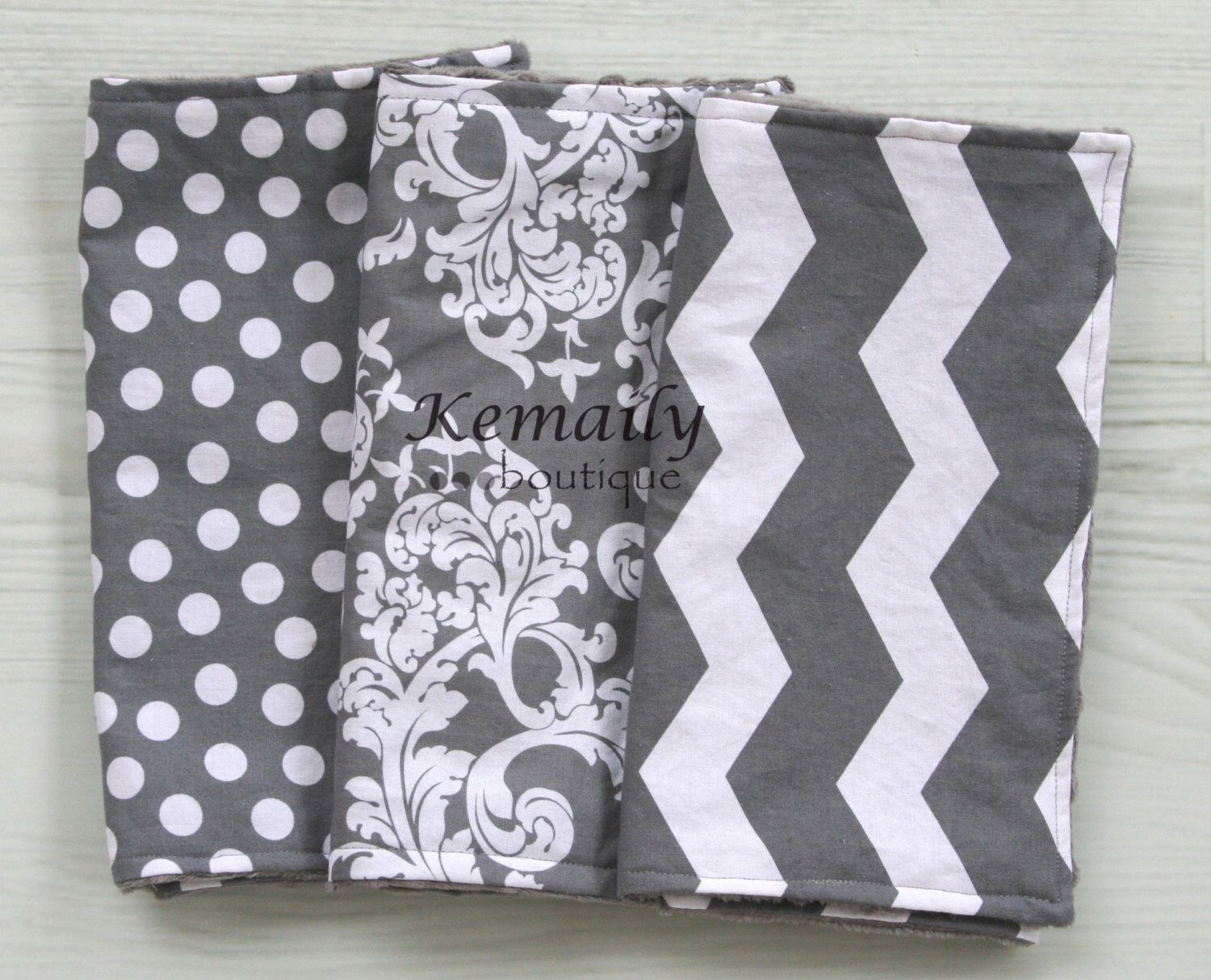 Grey Chevron Baby Minky Burp Cloth Trio From Kemaily by Kemaily on Etsy https://www.etsy.com/listing/76475994/grey-chevron-baby-minky-burp-cloth-trio