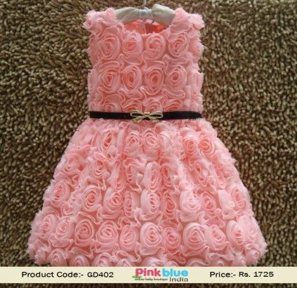 de073f65e Pretty Nude Pink Party Frock for Kids in India with Flowers
