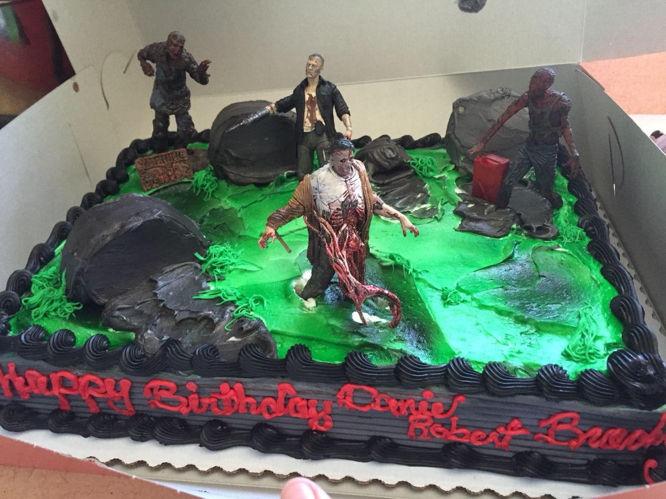 walking dead cake from vons I added the walking dead figures