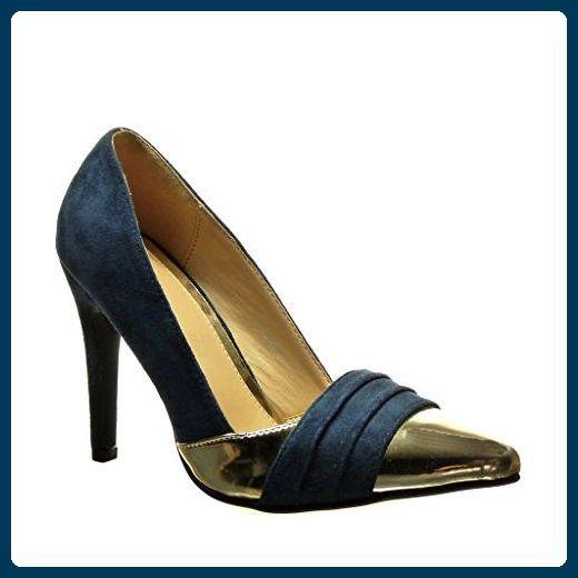 Angkorly Damen Schuhe Pumpe - Stiletto - Sexy - Bi-Material - Golden Stiletto High Heel 10 cm - Schwarz C61-02 T 38 bGS3wnpgX