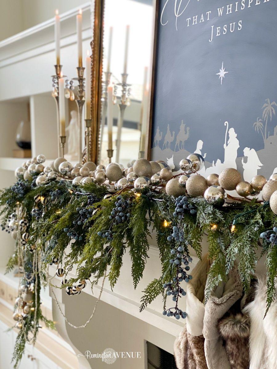 Holiday living room- blue and metallics - Remington Avenue -   17 room decor diy ideas