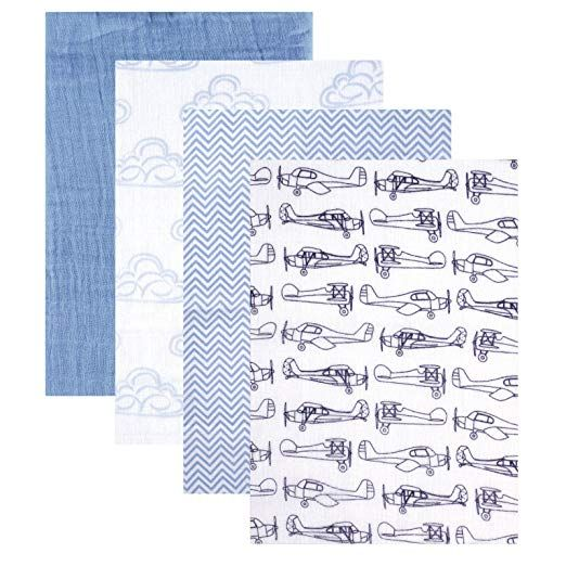 Hudson Baby 4 Piece Muslin Swaddle Blanket, Blue Review