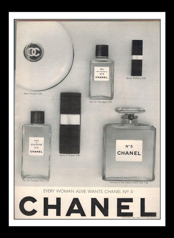 "Vintage Print Ad December 1964 :Chanel No. 5 Wall Art Decor 8.5"" x 11"" Advertisement"