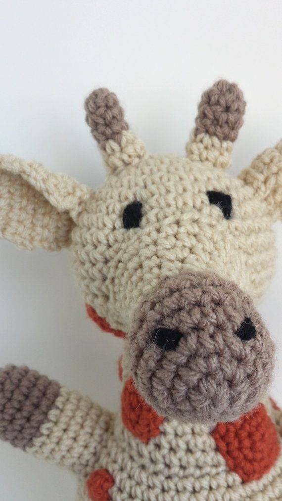 """Giraffe stuffed animal by MegsMinions on Etsy, $40.00. 10"""" x 8"""" this crocheted critter is perfect for kids and adults. Acrylic yarn and stuffing - machine washable! $43.00"""
