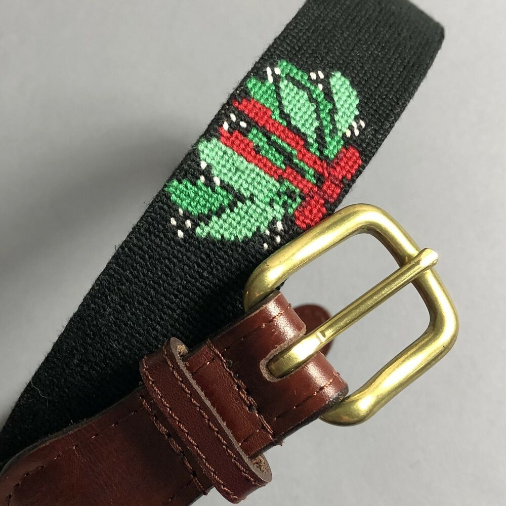 Smathers & Branson Size 34 Needlepoint Leather Belt