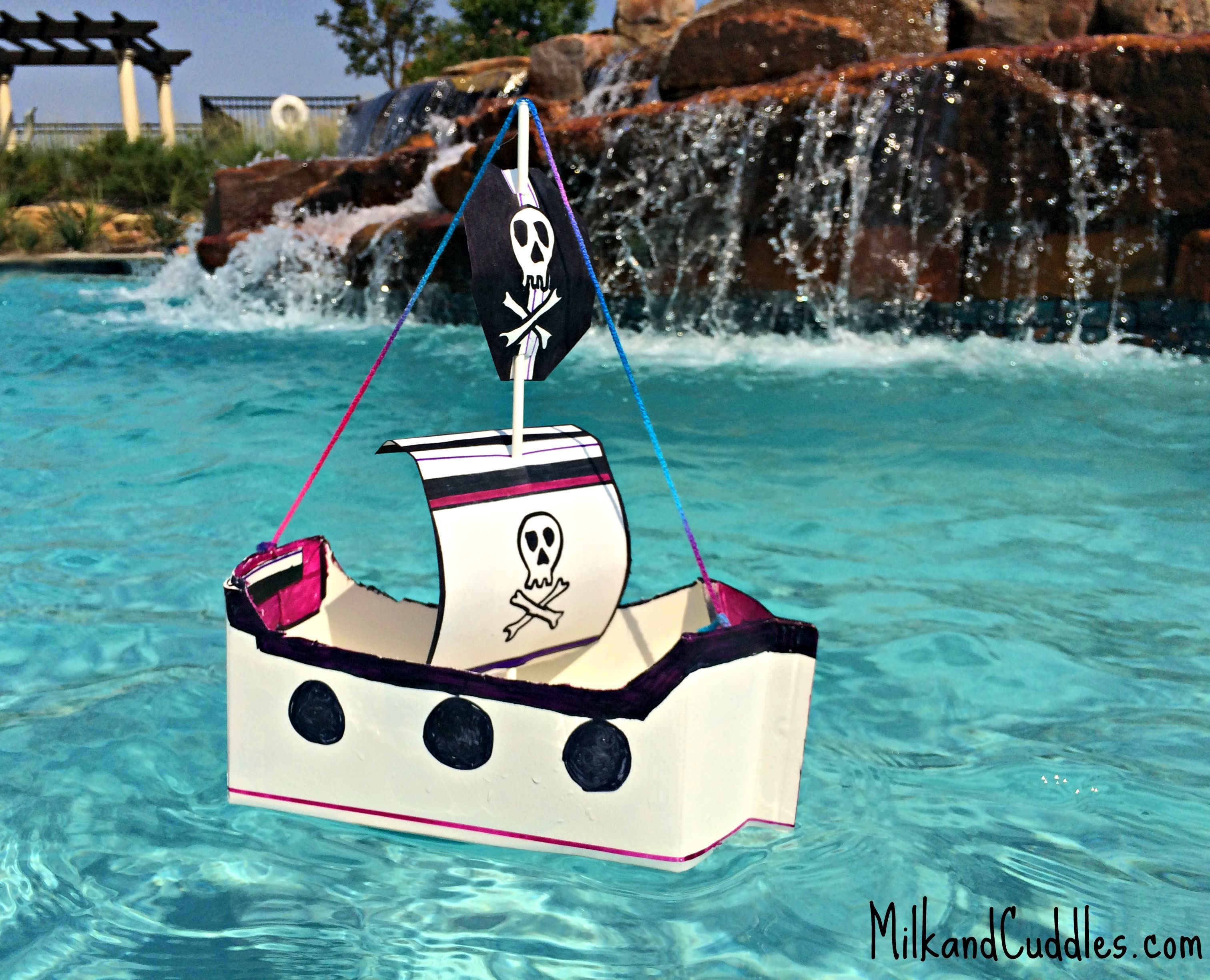 Easy DIY Floating Pirate Ship Craft For Kids Made From Common Recycled Objects
