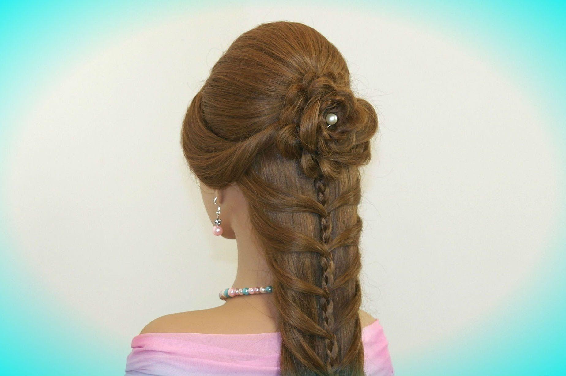 Cute prom braided hairstyles for long hair hair made rose hair