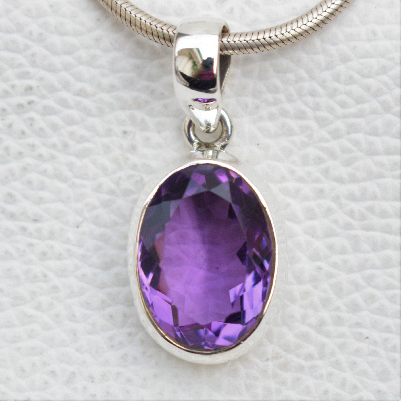 Gemstone pendant 92.5 sterling silver Amethyst silver pendant Natural gemstone pendant purple pendant Amethyst pendant Gift for her
