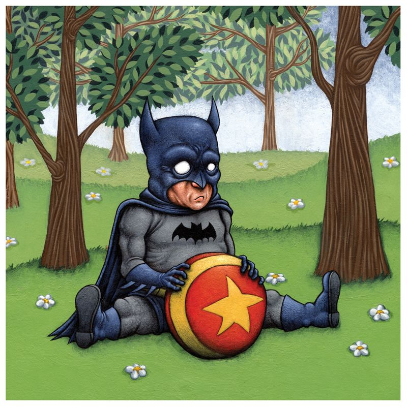 """This is an 8""""x8"""" acrylic painting done on masonite on a wooden box frame that I put together myself in 2007. It is part of the last series of acrylic painting I did before moving on to pen & ink and digital illustration.  The idea behind the series was to take the idealized super hero form and ..."""