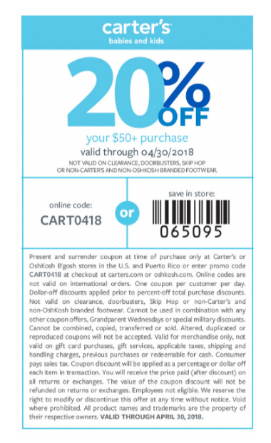 picture regarding Carters Printable Coupons called Carters Coupon: 20% Off $50+ Printable Coupon codes Coupon codes