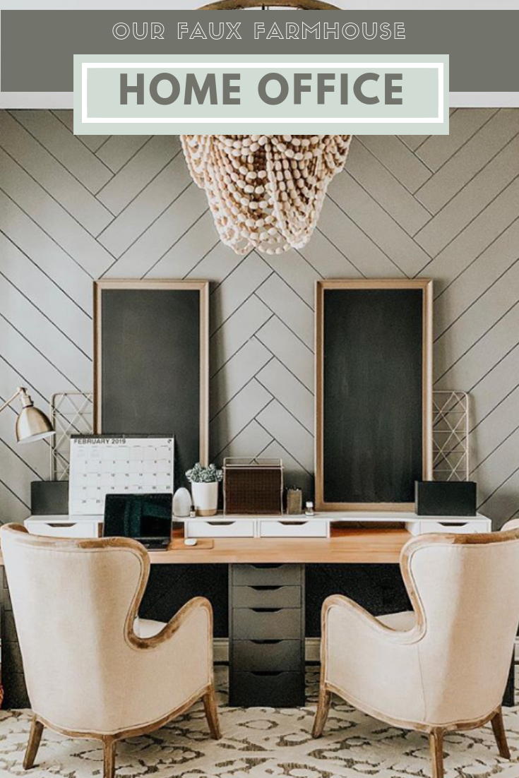 Our Faux Farmhouse Diy Home Office Rustic Herringbone