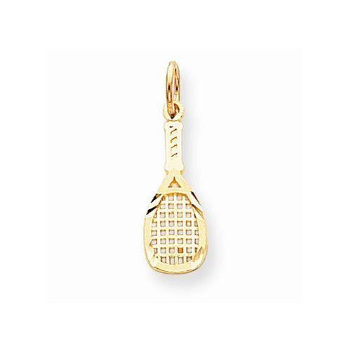 LA BLINGZ 14K Rose Gold Tennis Racket Necklace