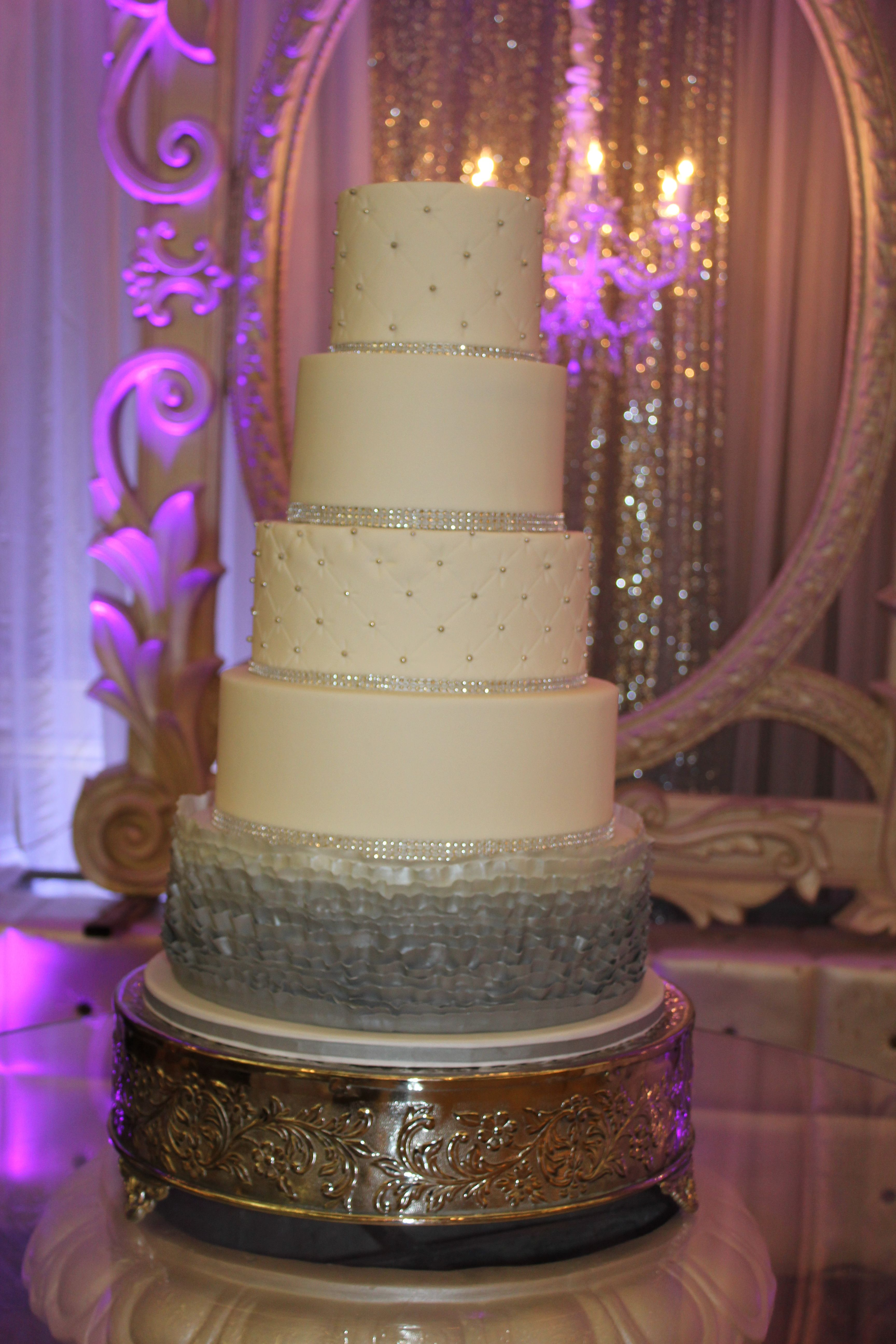 White and silver Wedding Cake Silver Ombre Ruffles and Rows of Bling