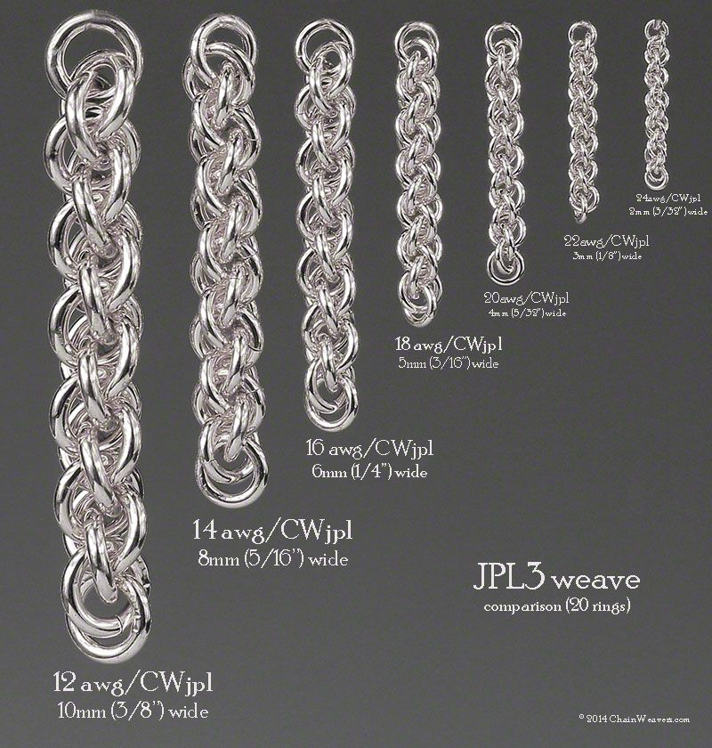 Jens Pind Weave Size Comparison Chart For Different Ring Sizes Based On 20 Rings Chainmail Jewelry Chain Maille Jewelry Chains Jewelry