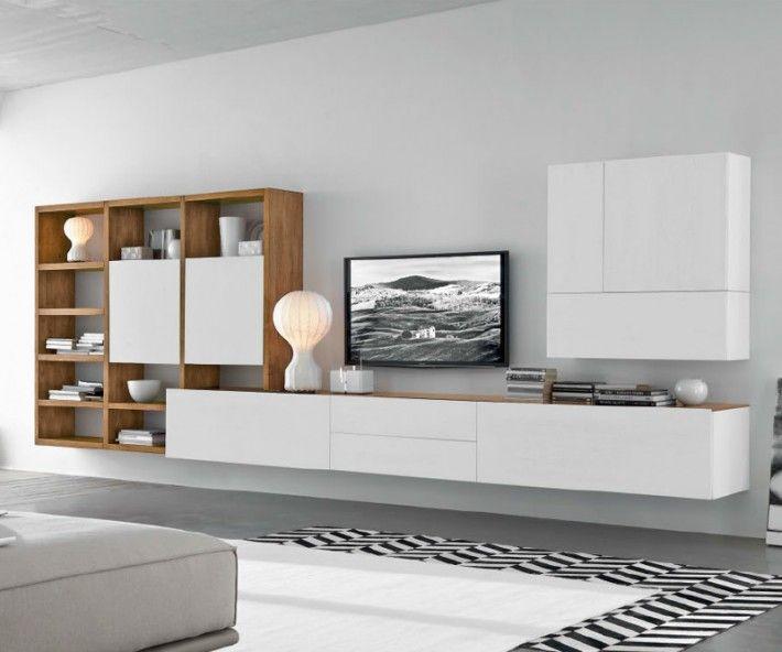 Livitalia Wohnwand C96B Luxus, Wohnzimmer und Wohnen - wohnwand wei modern