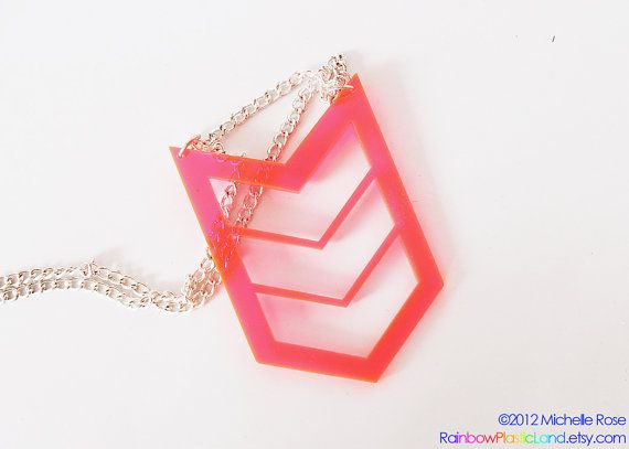 Neon Pink Chevron Necklace  Clear by RainbowPlasticLand on Etsy, $5.00