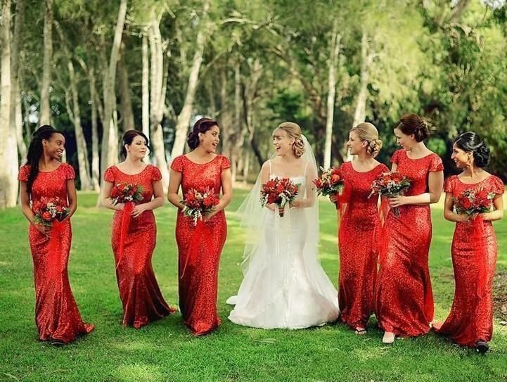 >> Click to Buy << 2016 Hot Selling Short Sleeve Scoop Neck Long Sheath Sequins Red Bridesmaid Dresses vestidos de festa Party Gowns Custom B101 #Affiliate