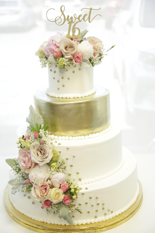 Great Dane Bakery Sweet 16 Birthday Wedding Cake Gold Fresh