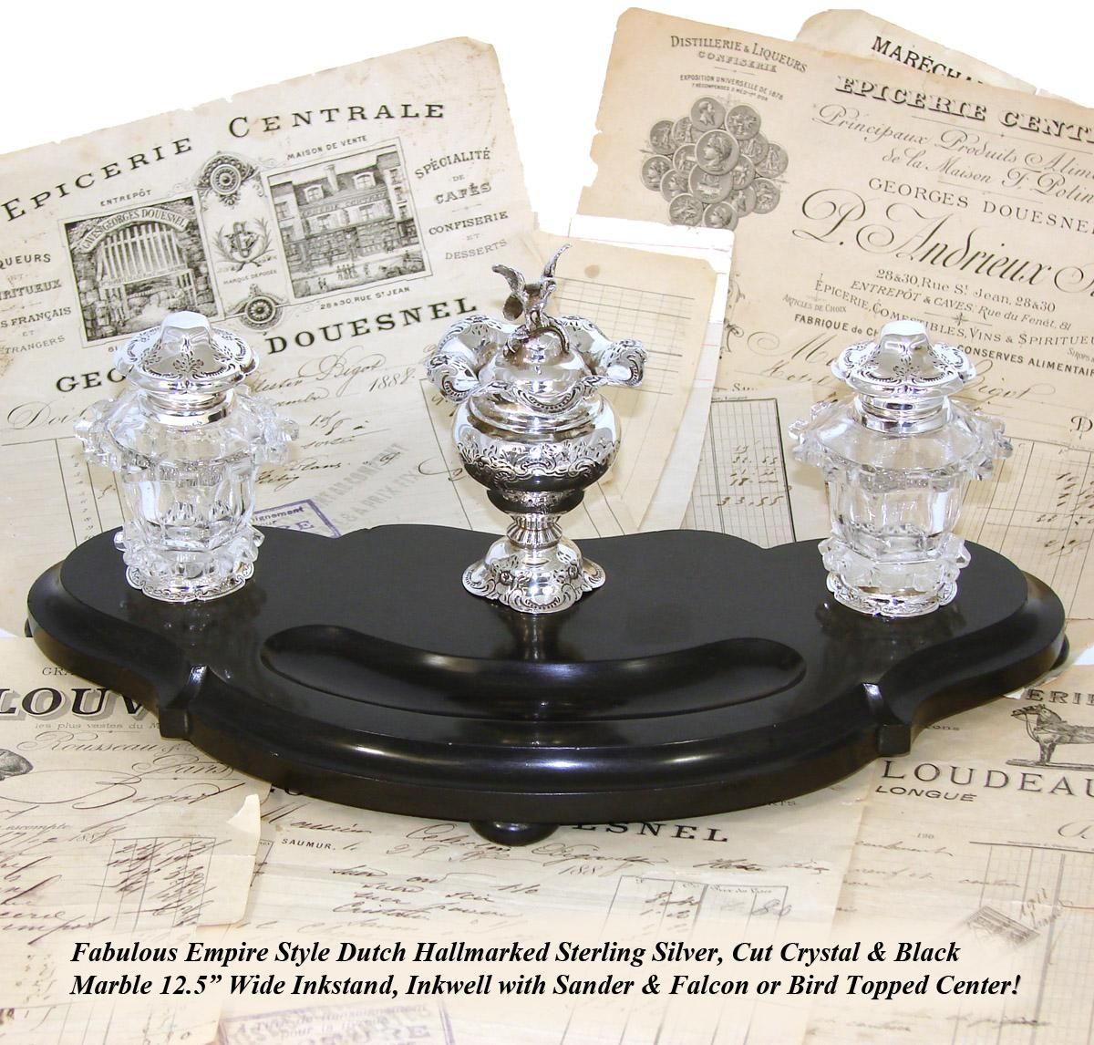 """Antique Dutch Sterling Silver, Cut Crystal & 12.5"""" Black Marble Inkwell with Sander, Falcon Figure"""