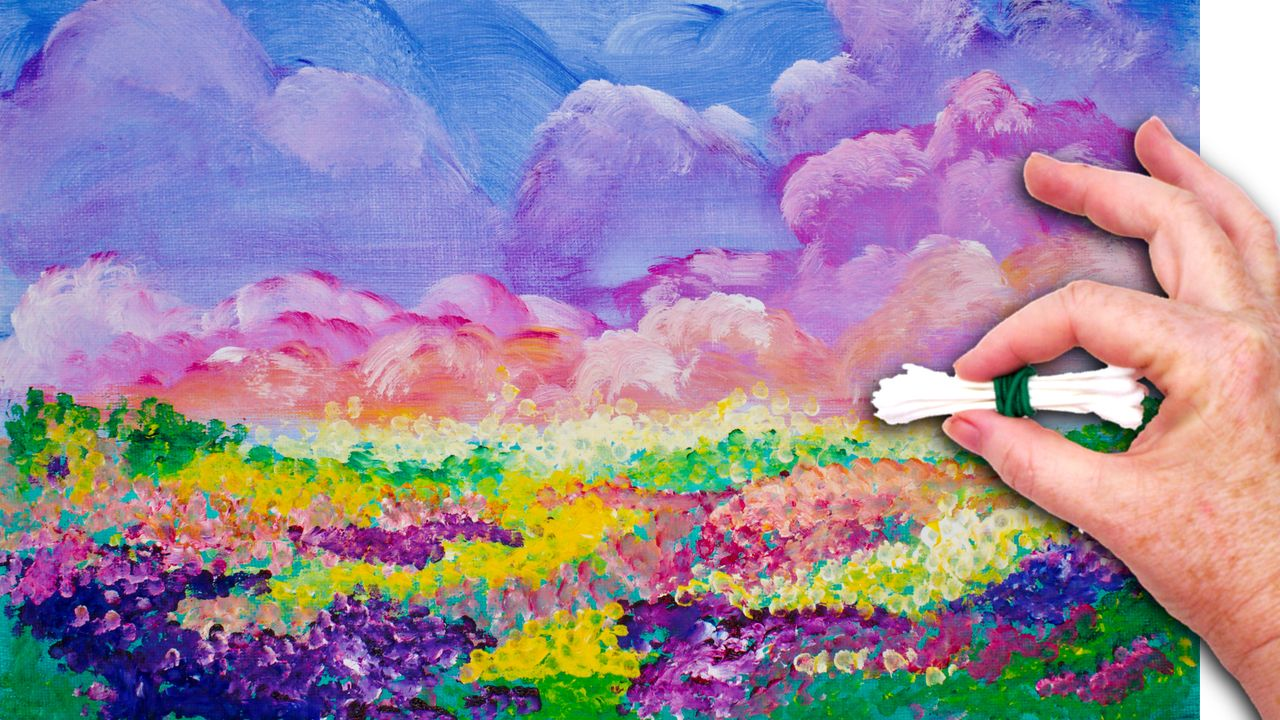 No brushes colorful sky and field of flowers painted in for Tips for using acrylic paint