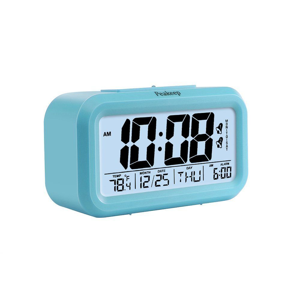 Amazon.com: Peakeep Digital Alarm Clock with 2 Alarms for Optional ...