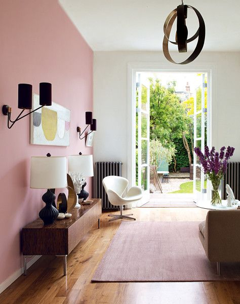 Cool Pink Accent Wall Pink Living Room Interior Home Decor