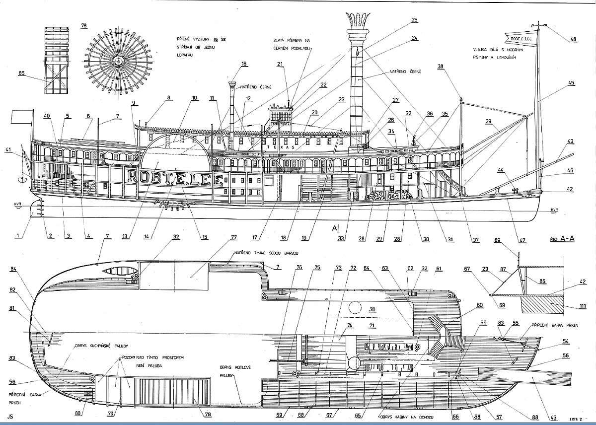 Photo Plan Sidewheel Steamer Robert Lee