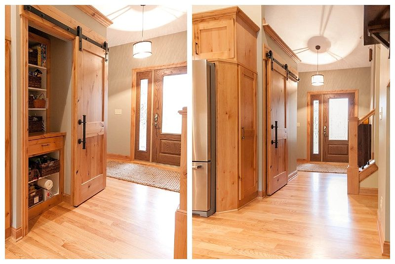 Entryway Closet Before And After. Was Once A Bi Fold Closet Door Turned  Pantry