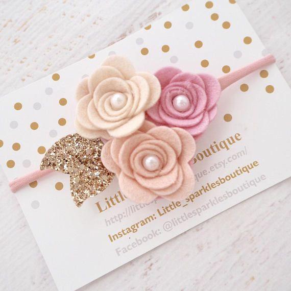 Rose clusterflower headband baby/ girl headband girls hair