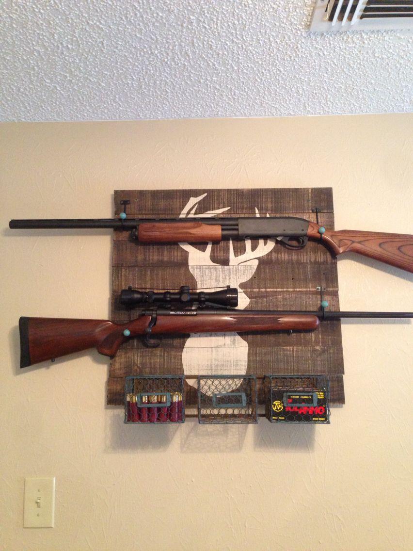Double pistol handgun revolver gun display case cabinet rack shadowbox - Homemade Gun Rack That I Made For My Husband
