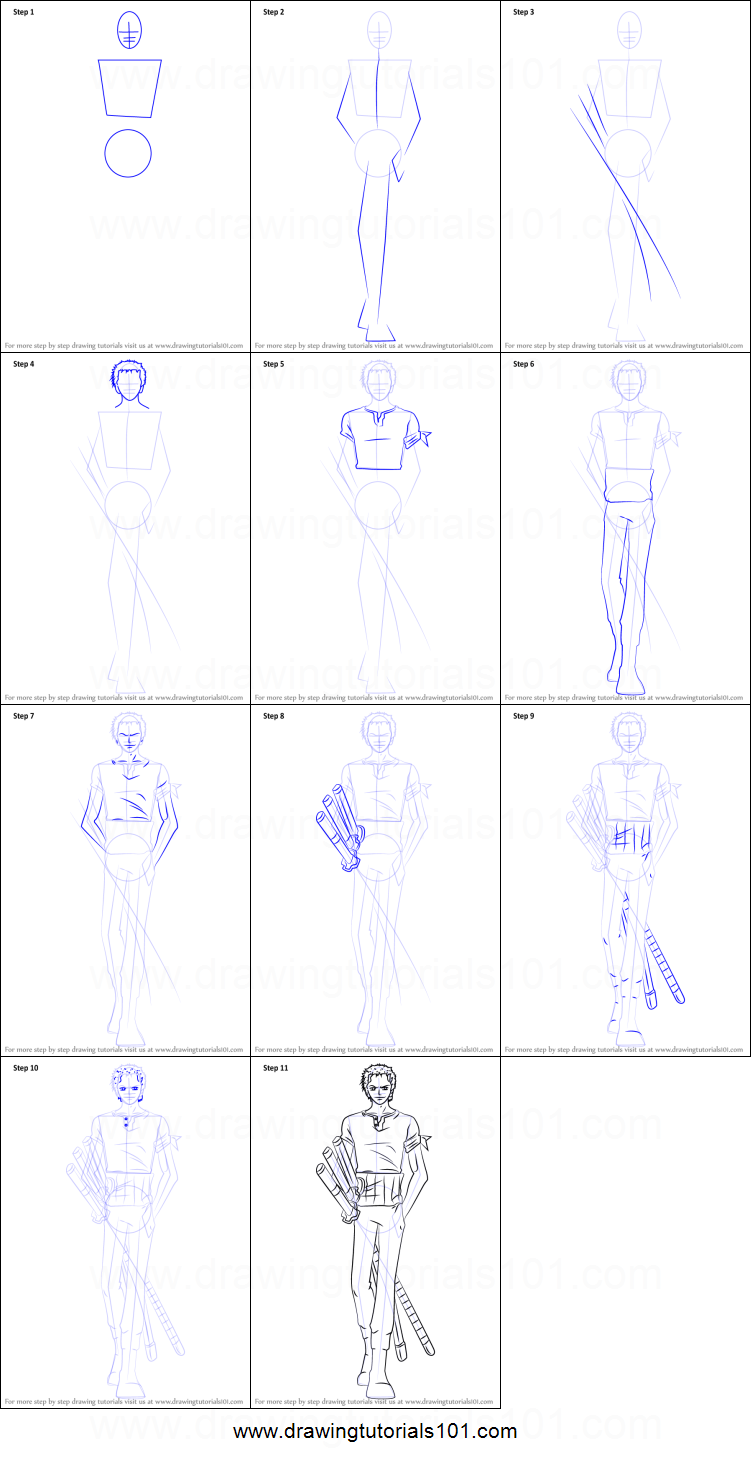How To Draw Roronoa Zoro From One Piece Printable Drawing Sheet By Drawingtutorials101 Com One Piece Drawing Roronoa Zoro Zoro One Piece