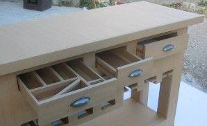 Table Console De Cuisine Terminee La Deco Cardboard Furniture Cardboard Paper Craft Paper Furniture