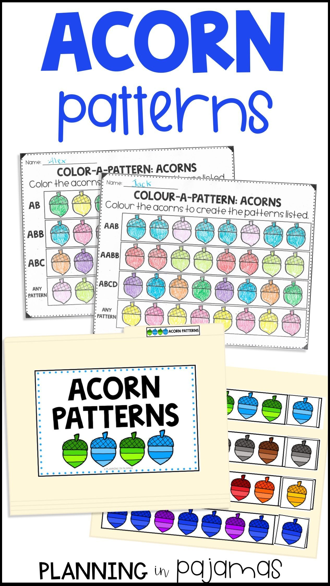 Acorn Patterns Worksheets File Folder Game