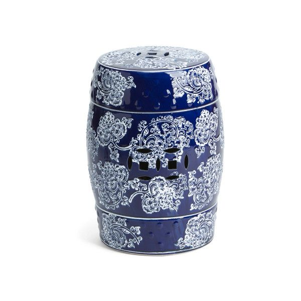 Charming Chinoiserie Ceramic Garden Stool ($60) ❤ Liked On Polyvore Featuring Home,  Outdoors,