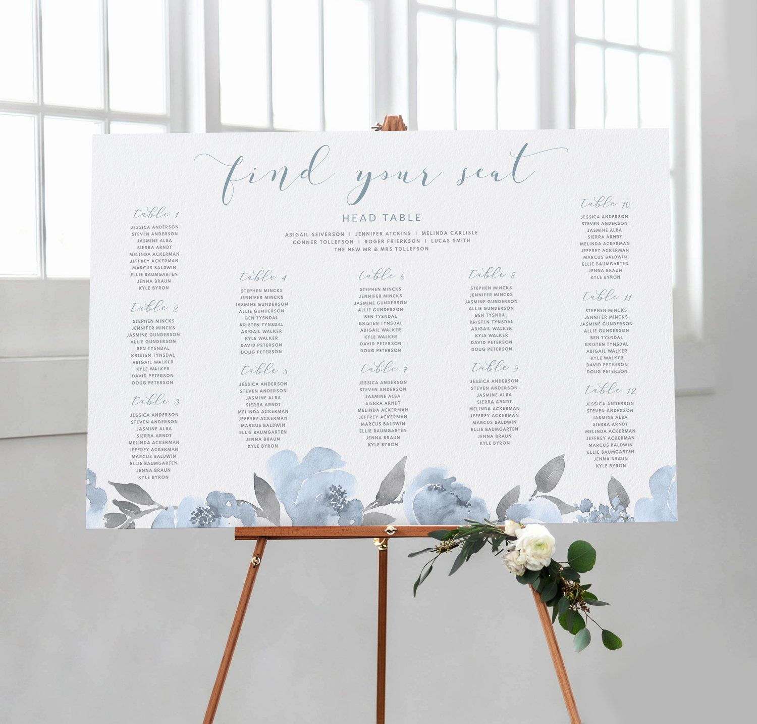 Table Number Seating Chart Template Poster (24 x 36