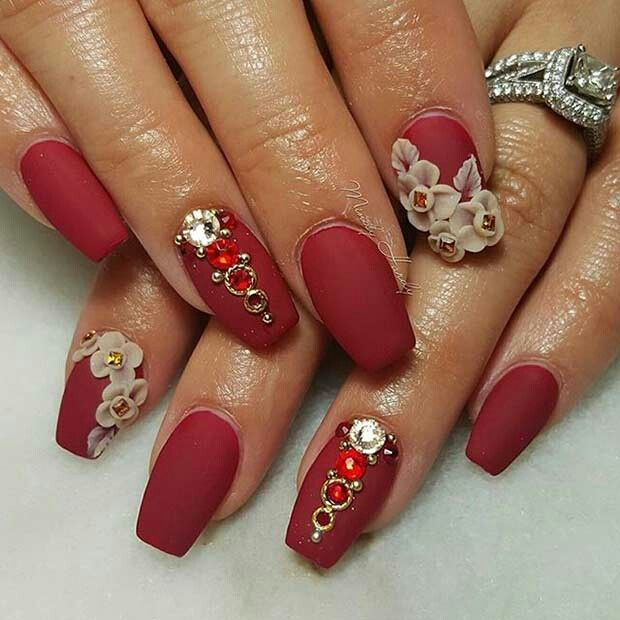 Nail Designs Red 3d Red Gems Nude Flowers Claws Pinterest Make Up