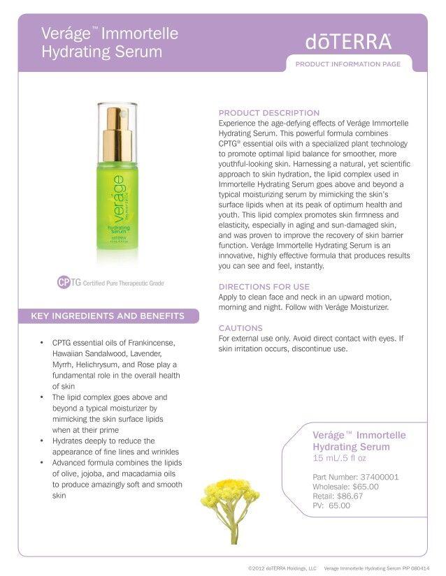 Verage Immortelle Hydrating Serum Doterra Oils Recipes My Essential Oils Essential Oil Skin Care