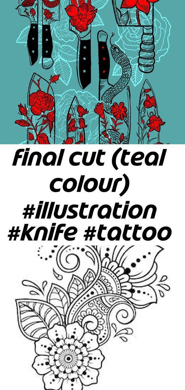 Photo of Final Cut (blaugrüne Farbe) #illustration #knife #tattoo #flashsheet #snake #rose #flower 15, #c …