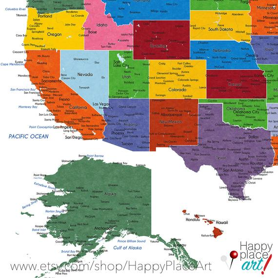 Detailed USA map with cities, and states labels. US map print with ...