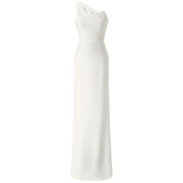Roland Mouret Coppernic Gown (12.495 BRL) ❤ liked on Polyvore featuring dresses, gowns, gown, white, stretchy dresses, white dress, white evening dresses, exposed zipper dress and roland mouret dress