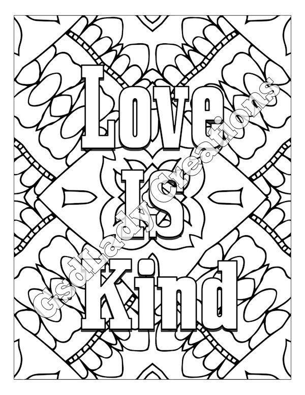 Word Art Adult Coloring Page Art Letter Design Love Is Kind