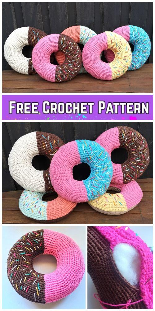 Crochet Giant Donut Pillow Free Crochet Pattern Kostenlos Hakeln
