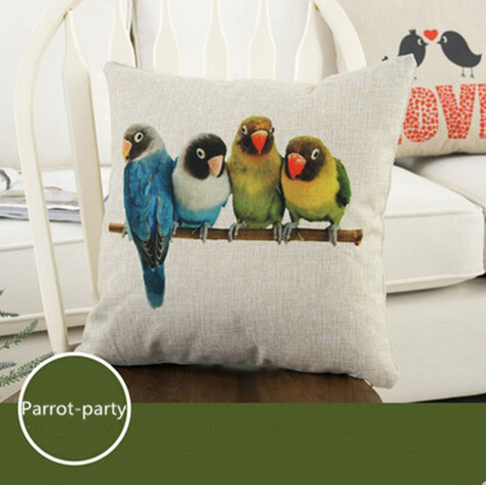 Find More Pillow Case Information about Pattern Parrot Party Fashion Linen Cushion Cover Pillow Case Home Decorative  Pillowcase Bedroom Pillowcover 45*45cm,High Quality sofa fabric,China cushion filler Suppliers, Cheap cushion lounger from Winne on Aliexpress.com