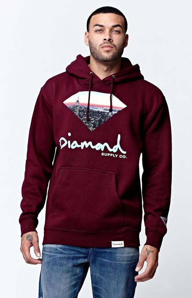 251e84649 Diamond Supply Co Cityscape Pullover Hoodie - Mens Hoodie - Maroon ...