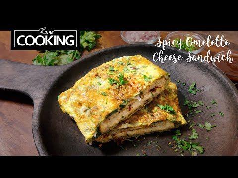Spicy Omelette Cheese Sandwich | Easy Breakfast Recipe | Indian Street Food | Sandwich Recipes