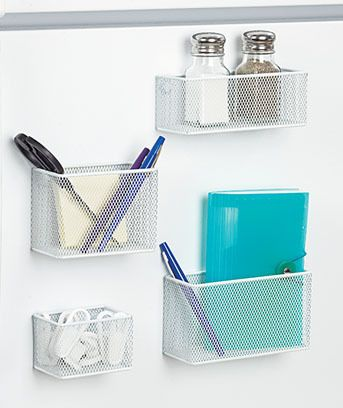 Sets of 4 Magnetic White Mesh Baskets { NEW } Great Home Decor And Organization $13