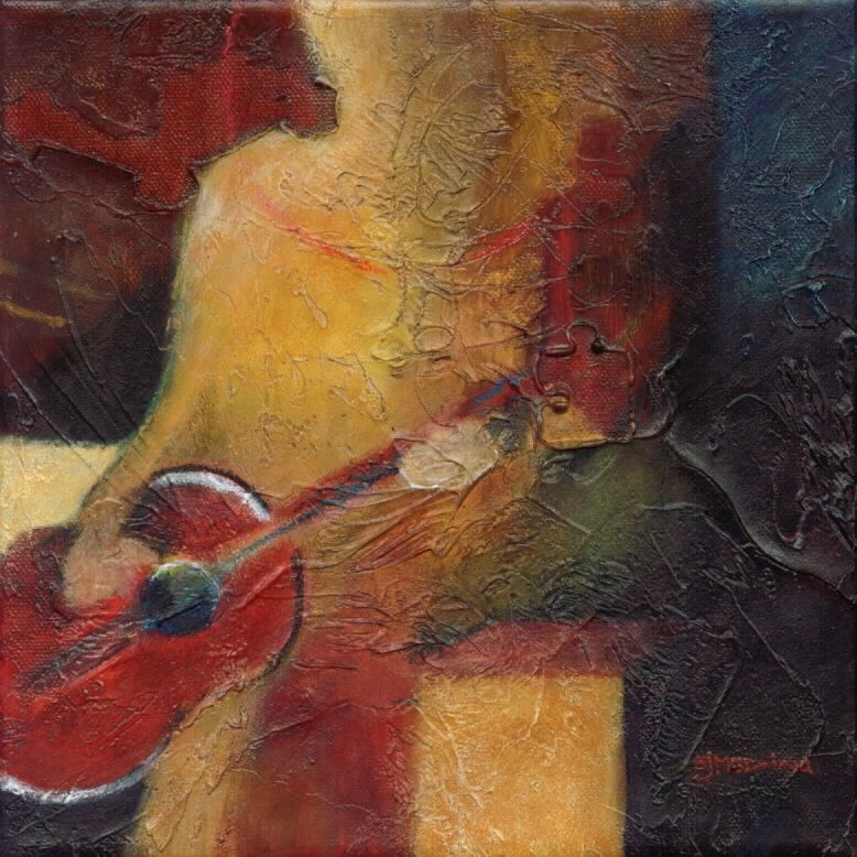 """""""Acoustic I"""" by Sally Meding. Mixed-media on gallery-wrapped canvas. 12x12""""  SOLD  www.sallymeding.com  www.just-art.org"""