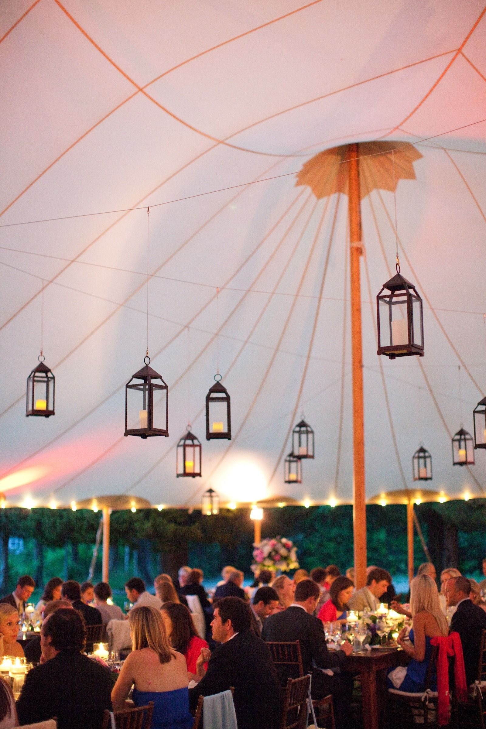 Whimsical, hanging lanterns from the top of this Sperry Tent |  Tents: Sperry Tents - sperrytents.com